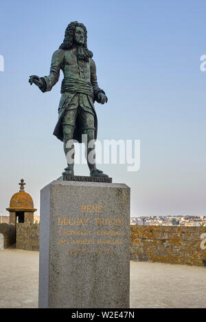 Statue of René Duguay-Trouin at St Malo, Brittany, France - Stock Image
