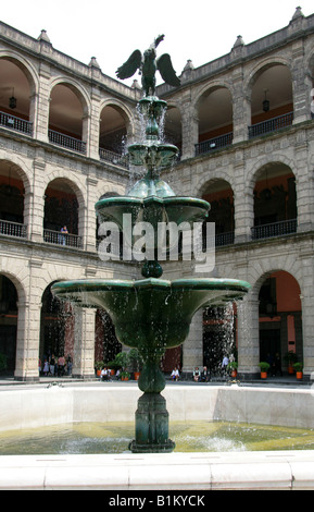 Fountain at the National Presidential Palace, Zocalo Square, Plaza de la Constitucion, Mexico City, Mexico - Stock Image