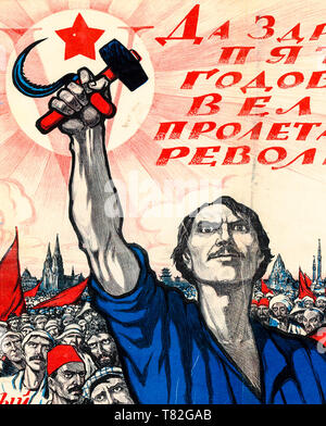 Soviet poster dedicated to the 5th anniversary of the October Revolution and Fourth Congress of the Communist International (detail), 1922 - Stock Image