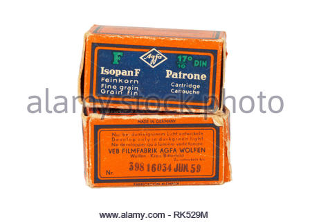 Vintage 1950s Agfa film cartons. - Stock Image