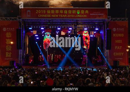 London, UK, 10 February, 2019. Chinese New year celebration at Trafalgar Squaren London, UK. Credit: Harishkumar Shah/Alamy Live News - Stock Image