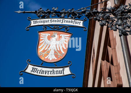 The Ršmer, city hall of Frankfurt am Main, landmark of the city, coat of arms of the winery of the city of Frankfurt - Stock Image