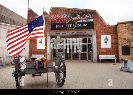 The Fort Pitt Museum is located in a recreated bastion of Fort Pitt. The museum highlights the historical significance of Fort Pitt. - Stock Image