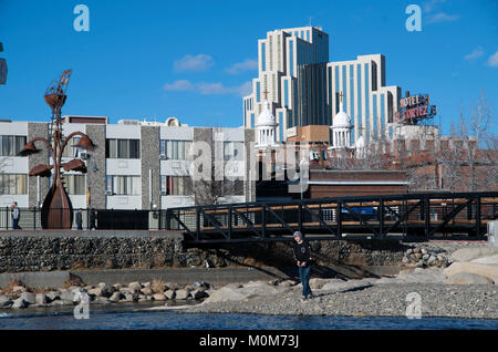 A young man throws rocks into the Truckee River in Reno, NV. - Stock Image