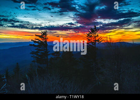 Spectacular mountain range vistas from the Clingmans Dome area in the Great Smoky Mountains National Park, outside Gatlinburg, Tennessee, USA. - Stock Image