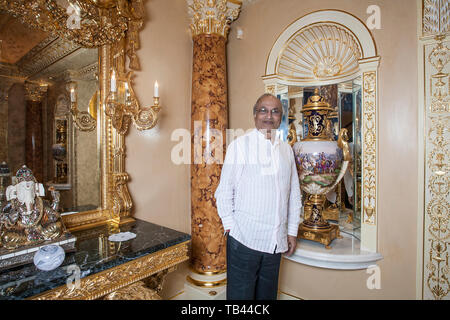 British-Indian businessman Nirmal Sethia, Chairman of the luxury UK company, Newby Teas photographed at home on The Bishops Avenue in Hampstead, UK - Stock Image
