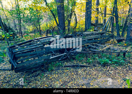 Abandoned territory in Ukraine nearby Chernobyl Nuclear Power Plant.  It was evacuated on the 27th of April 1986, day after the most devastating nucle - Stock Image
