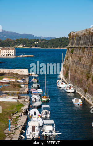 Greece Corfu Old Corfu Town seafront by the Old Fortress in the Ionian Sea - Stock Image