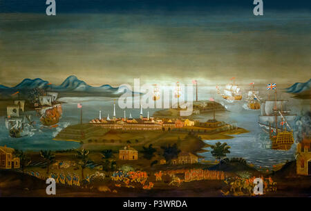 The Battle of Bunker Hill, Winthrop Chandler, circa 1776-1777, Museum of Fine Arts, Boston, Mass, USA, North America - Stock Image