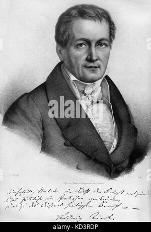 Ludwig Tieck -portrait. with signature. German writer on Shakespeare. 31 st May 1773 - 28 april, 1853.  Wrote under - Stock Image