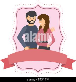 Couple woman and man smiling cartoon on label frame witn blank ribbon banner vector illustration graphic design - Stock Image