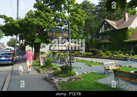 Man walking his dog, passing by the Ivy Manor Inn, Bar Harbor, Maine, USA. - Stock Image