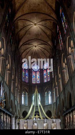 PARIS, FRANCE -  APRIL 26: Interior of the Notre Dame de Paris on april 26, 2013 in Paris.The cathedral of Notre - Stock Image