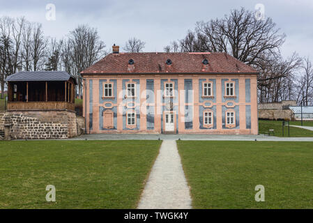 Building in garden of monastery in Broumov town in Nachod District of Czech Republic - Stock Image