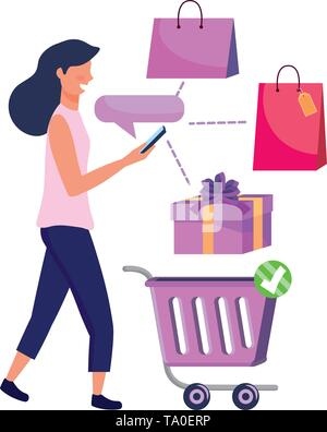 Woman shoppong online design, Store ecommerce media market and internet theme Vector illustration - Stock Image