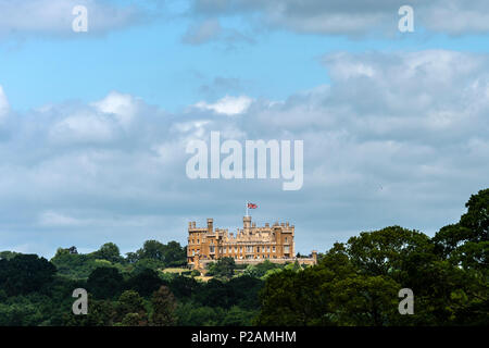 Belvoir castle, Rutland, UK. 14th Jun, 2018. June 14th 2018: Clouds over Belvoir Castle home to  current 11th Duke of Rutland, family an unbroken line for almost a thousand years at the castle, over looking the vale of Belvoir from the crown of a hill in Leicestershire. Credit: Clifford Norton/Alamy Live News - Stock Image