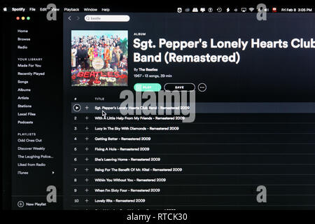 The Beatles album Sgt Pepper's Lonely Hearts Club Band Spotify webpage - Stock Image