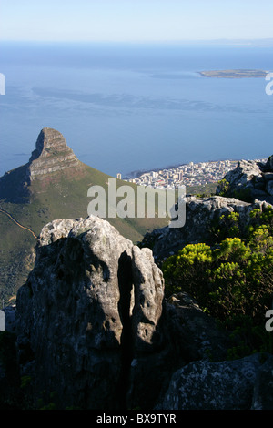 View of Lions Head, Robben Island and Cape Town from Table Mountain, Cape Town, Western Cape, South Africa. - Stock Image