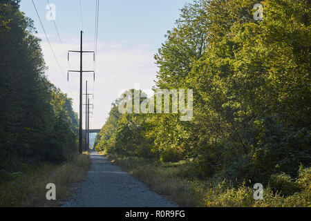 The Enola Low Grade Trail, a rail trail through Lancaster County at Quarryville, Pennsylvania, USA - Stock Image