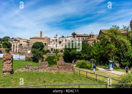 Rome, Italy - 24 June 2018: The ancient garden at the Roman Forum, Palatine hill in Rome - Stock Image