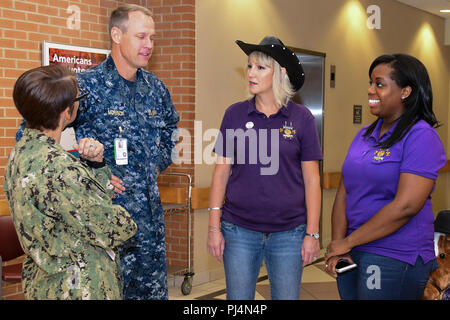 180830-N-IY469-039 – CMDCM (FMF/CAC) Beth Nilson, command master chief, and Capt. Devin Morrison, NMCP acting executive officer, discuss cancer research with Kristie Leadman and Melvina Queen, two members of the Warriors of Hope Cancer Awareness Committee. - Stock Image