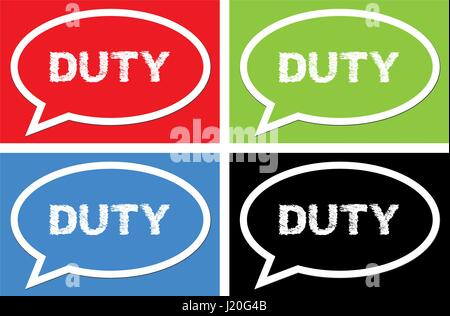 DUTY text, on ellipse speech bubble sign, in color set. - Stock Image