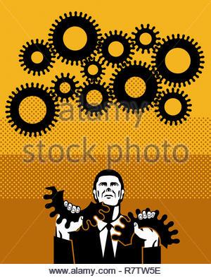 Businessman holding broken cog - Stock Image