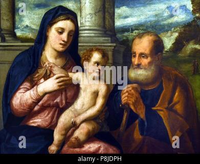Sacra Famiglia - Holy Family by Bonifazio de Pitati 1487-1553 Verona-Venice, Italy, Italian. - Stock Image