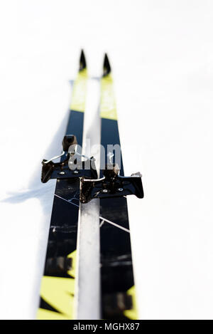 Pair of new cross-country skis on a white winter snow background with copy space area for wintery themed sports and Nordic skiing designs - Stock Image