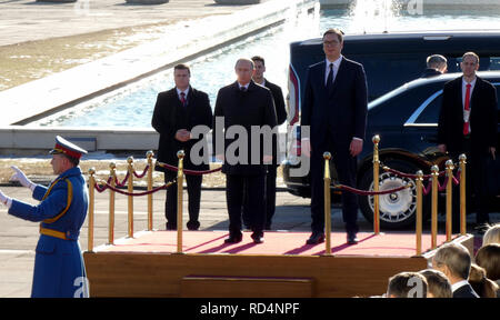Belgrade, Serbia. January 17th 2019. President of Russian Federation, Vladimir Putin on official visit to Belgrade, Serbia. President Putin with President Aleksandar Vucic during the official intonation of the anthem of Russia and Serbia. Credit: Ognjen Stevanovic/Alamy Live News - Stock Image
