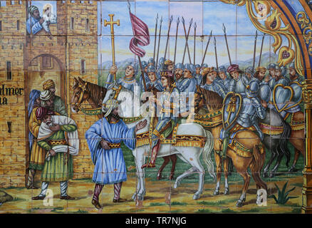 Spain. Middle Ages. Reconquest. Conquest of Almeria. 1489. Ceramic tiles of Spain Square. Seville. - Stock Image