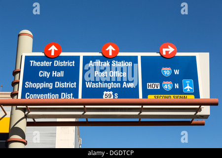 Traffic direction signs over road Houston Texas USA - Stock Image