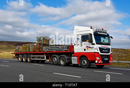 MacKenzie Transport Forth HGV with load of assorted building materials. M6 Motorway, Southbound, Shap, Cumbria, England, United Kingdom, Europe. - Stock Image