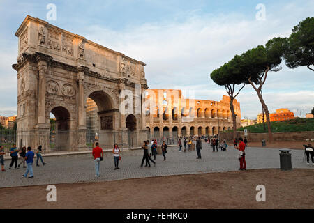 The Arch of Constantine and the Colosseum in Rome, Italy; Arco Di Constantino, Colosseo, Roma - Stock Image