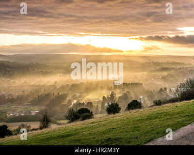 Autumn Sunset at Box Hill England - Stock Image