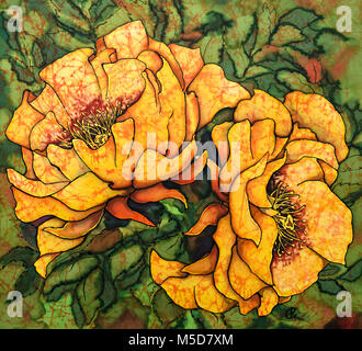 Photograph of silk painting of orange / yellow roses steam using fixed dyes and black outliner by Paula Chapman - Stock Image
