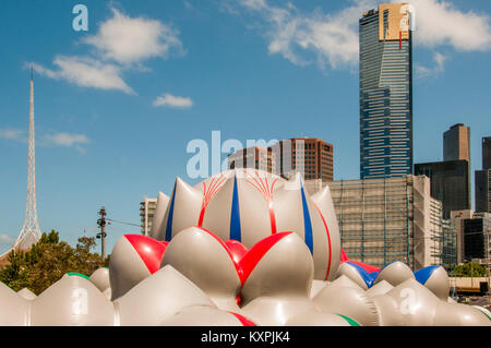 Arboria is a walk-in inflatable installation, set up in Federation Square, Melbourne, until 28 Jan 2018.  Eureka - Stock Image