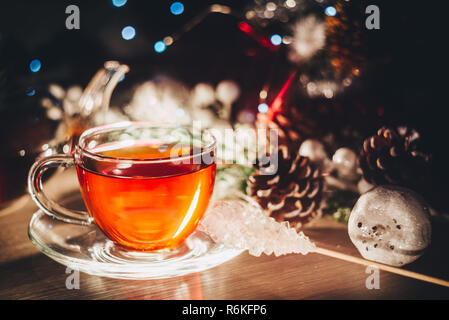 Merry christmas poster for cafe or restaurant with cup of hot tea with copy space - Stock Image