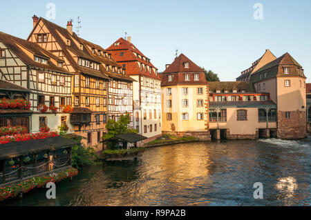 Canalside in Petite France, Strasbourg, Alsace, France - Stock Image