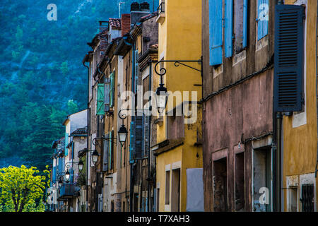 Old weathered rustic buildings in Duravel, South-west France, Europe - Stock Image