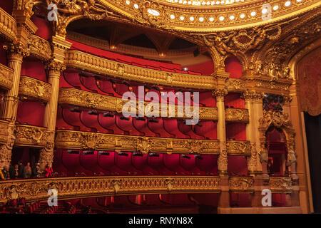 Seating at the Palais Garnier (aka Opera Garnier), Paris, France - Stock Image