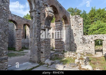 The Great Basilica 6th century, Christian Church  Butrint National Park Archelogical site Albania - Stock Image