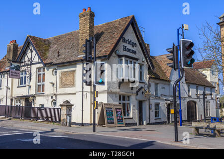 St Neots town centre high street Cambridgeshire, England, gb,uk - Stock Image