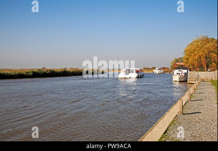 A cruiser on the River Bure on the Norfolk Broads on a fine autumn day at Stokesby, Norfolk, England, United Kingdom, Europe. - Stock Image