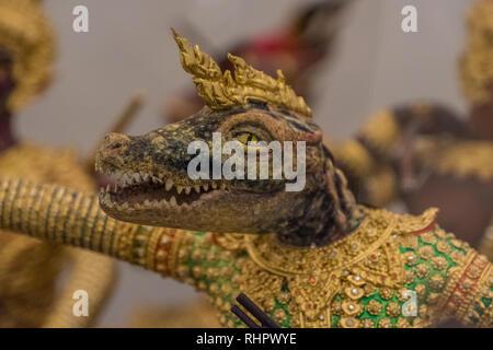 crocodile figure at bangkok's museum of contemporary art - Stock Image