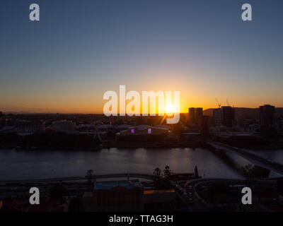 Brisbane City Sunset - Stock Image