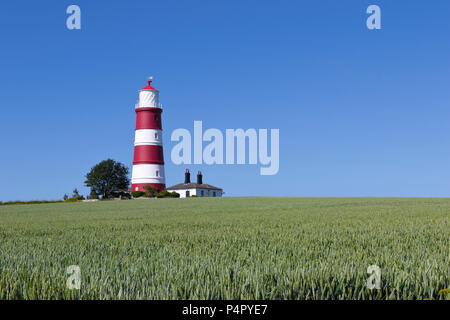Happisburgh Lighthouse on a bright summer afternoon in Norfolk, UK. - Stock Image