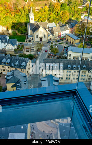 Interior of the Panoramic Elevator of the Pfaffenthal, Luxembourg, Luxembourg City - Stock Image