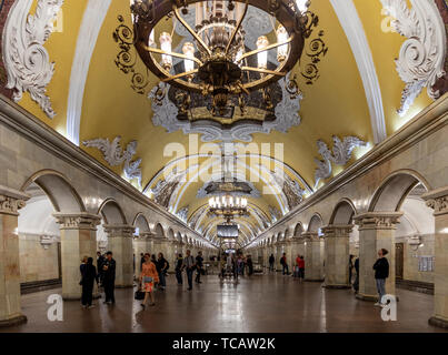 Komsomolskaya Subway Station, Moscow, Russia - Stock Image