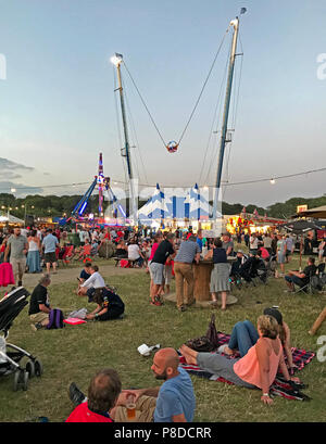 Family entertainment at Silverstone Woodlands, evening at the British Grand Prix 2018, Silverstone, Towcester, England, UK,  NN12 8TN - Stock Image